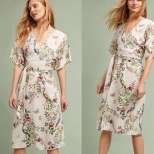 Anthropologie Asian Flora Kimono Midi dress